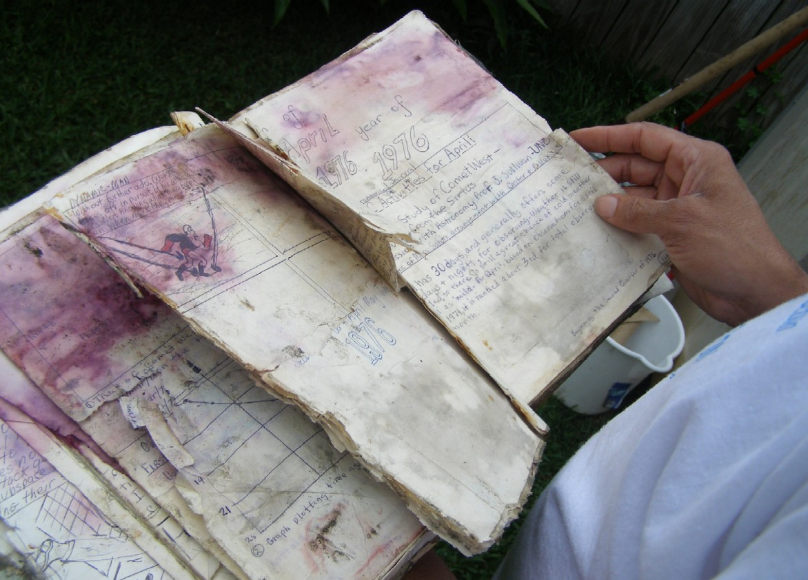 Close-up of the damaged 1976 volume of the VAO Astronomical Journal.